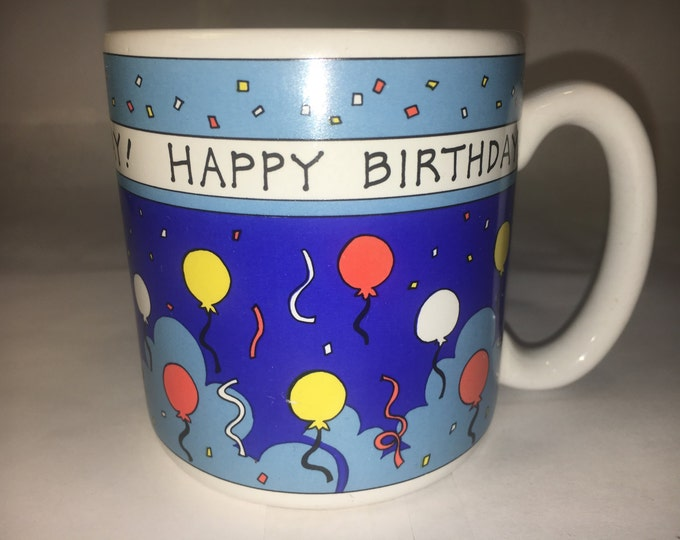 Happy Birthday Ceramic Coffee Cup Mug, White w/Black Happy Birthday, Balloons On Side, 1989 Flowers Inc. Balloons made in Korea