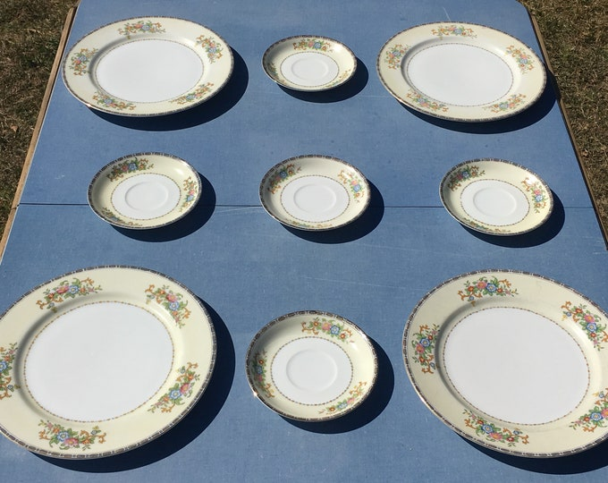 Vintage Bone China (9 pcs), Meito Annabelle Dinnerware, Springtime Flowers Place Settings, Pink White Plates & Saucers