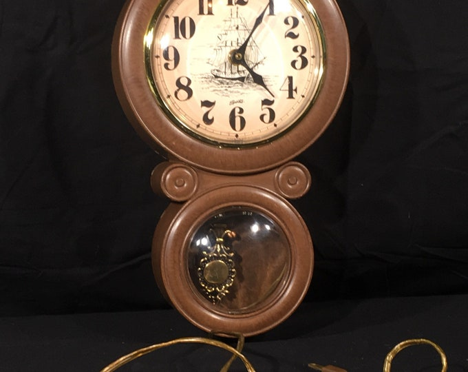 Vintage Nautical Wall Clock, Decorative Spartus Clock, Brown & Gold Wall Hanging Decor, Collectible Schooner Art, Electric Clock