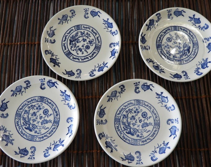 Vintage Blue Onion Tea Tile Saucers (4),Blue Dinnerware Plates,Decorative Floral Dishes,Blue White Country Wedding Plates,Oriental 5 7/8""