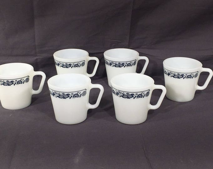 Vintage Blue Onion Mugs (6), Pyrex 1410 D Handle Cups, Decorative White Blue Coffee Mugs, Collectible Glass Dinnerware, Glassware Cups