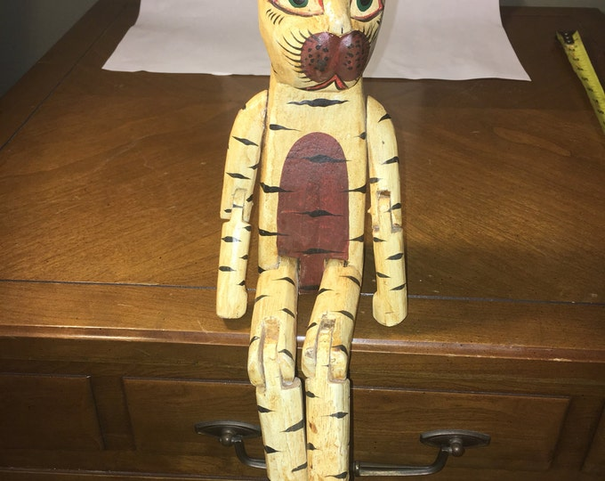 "Vintage Wooden Tiger, Carved Statue, Yellow w Black Stripes, Toy Puppet, Shelf Sitter, Wood Cat, Indonesia 14.5"" long"