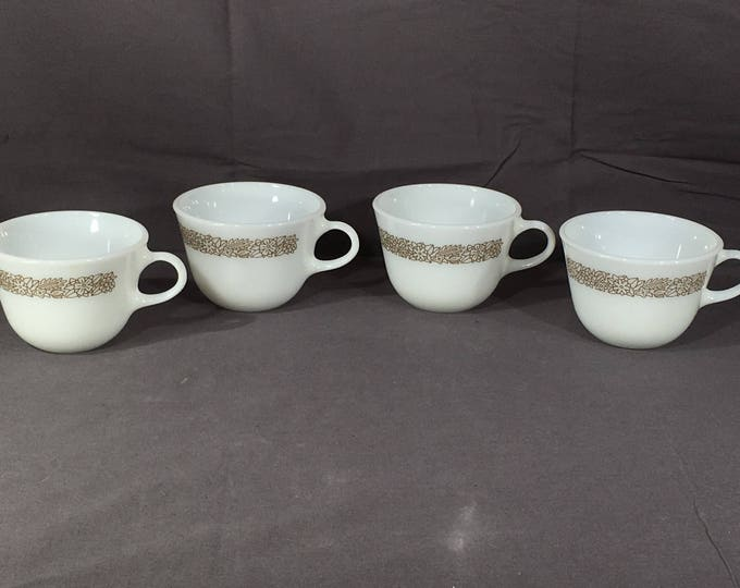 Vintage White & Brown Cups (4), Pyrex Woodland Brown White Teacups, Collectible Milk Glass Mugs, Decorative Coffee Cups