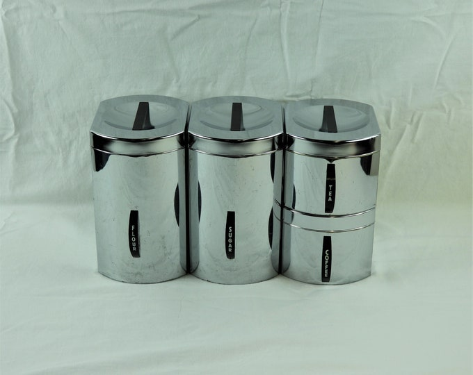 Vintage Kitchen Canisters (4), Chrome Kromex Boxes, Counter Top Storage, Silver Containers, Metal Decor, Coffee, Tea, Sugar, Flour, Retro
