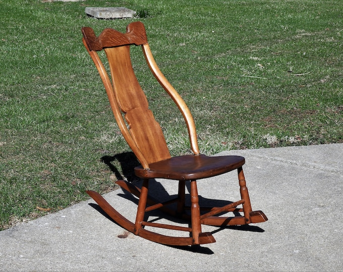 Antique Rocking Chair, Bentwood Diaper Rocker, Quarter Sawn Oak & Maple, Victorian Age, Old Square Fasteners, Harp Back, Brown Gold Wood