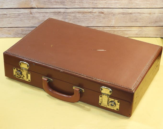 Vintage Government Issue Briefcase, Mid Century Attache, Marsden Brown Eastern Case, Decorative Leather Luggage, War Time Memorabilia
