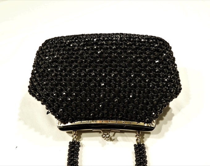 Vintage Black Beaded Bag, Marcus Brothers, Raffia Handbag, Top Handle, Evening Purse, Jeweled Beads, Kissing Lock, Gold Tone Trim