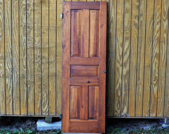 "Antique Cedar Door, Interior Closet, Solid Wood, Wall Hanging, Architectural Salvage, Copper Brown Gold, Home Decor, 70 1/8"" x 23 9/16"""