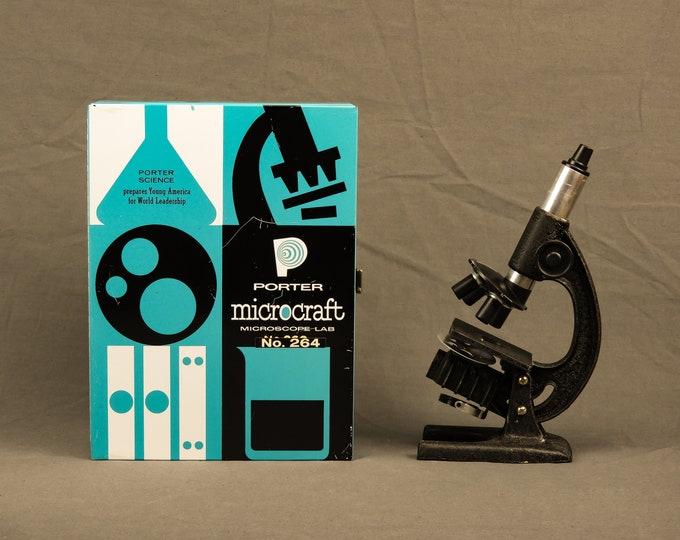 Vintage Microscope Lab, Porter Science, No 264 Microcraft, Blue & Black, Metal Case, Mid Century, Home Decor, Atomic Decoration