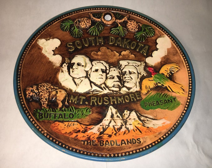 "Vintage Collectible Plate, Ceramic Mt Rushmore Dish, South Dakota Western Souvenir Wall Hanging, Pheasant Buffalo Badlands Theme 8.25"" Wide"