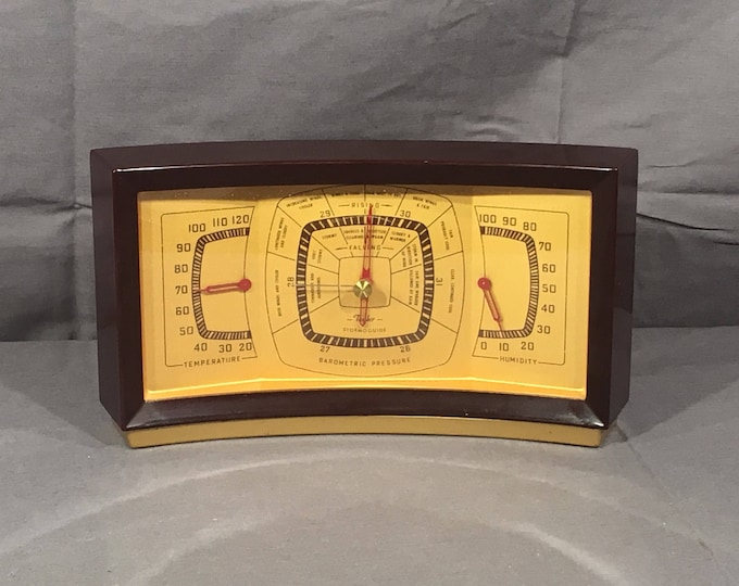 Mid Century Taylor Barometer, Decorative Brown & Gold Instrument, Curved Weather Measuring Device, Vintage Temperature Gauge