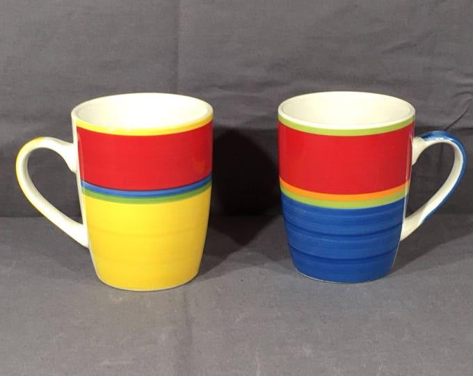 Vintage Royal Norfolk Mugs (2), Blue & Yellow Collectible Mugs, Decorative Ceramic Coffee Cup, Colorful Ceramic Art, Matching Mugs Set