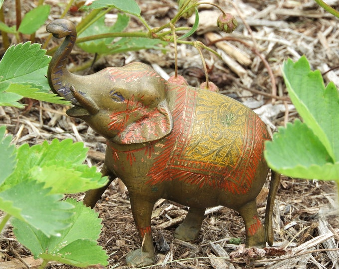 Vintage Asian Elephant, Ornate Brass Figurine, Carved & Hammered Metal Art, Decorative Wildlife Figure, Gold Celebration Animal