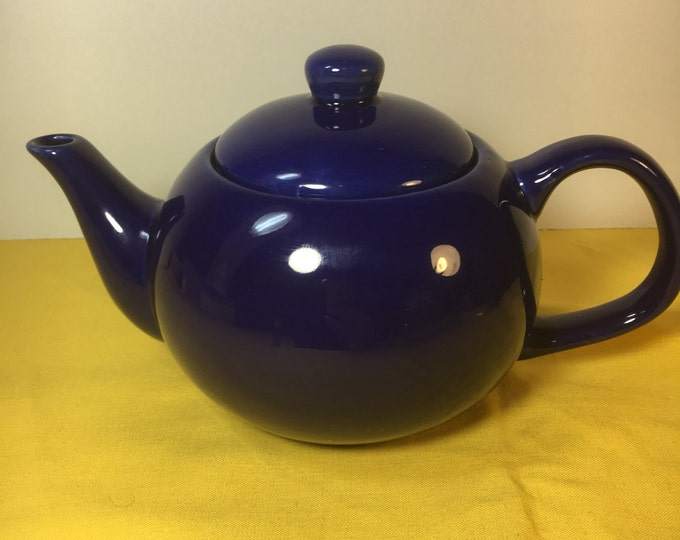 "Vintage Cobalt Blue Teapot, Porcelain Designpac 5"" Tall Teapot Designpac Northlake Illinois, Teapot made in China, Deep Blue Cobalt Teapot"