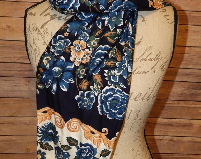 """Vintage JG Hook Scarf, 60"""" Long x 9"""" Wide Gold Blue Teal Green and Orange Designer Scarf, Windbreak Coat Winter Scarf, Cotton"""