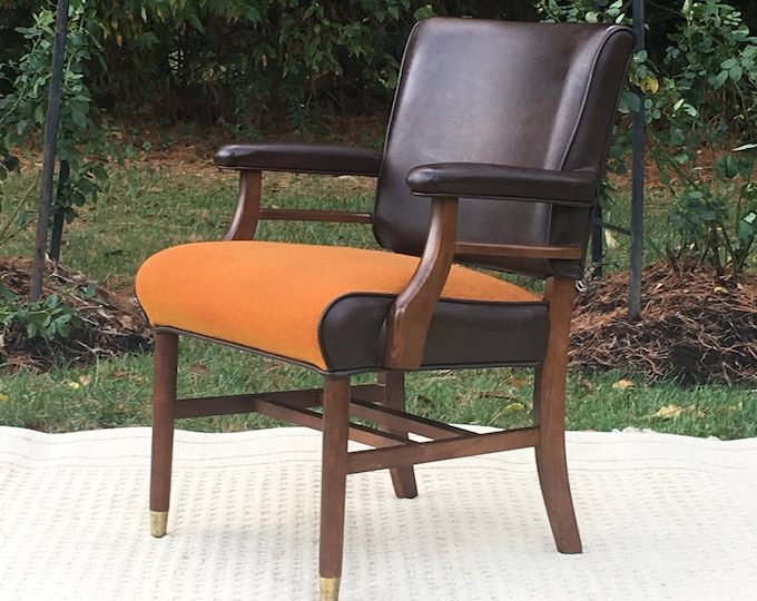 Mid Century Leather & Tweed Chair, Robert James Leather Lounge Game Chair, Brown Orange Accent Chair, Decorative Furniture