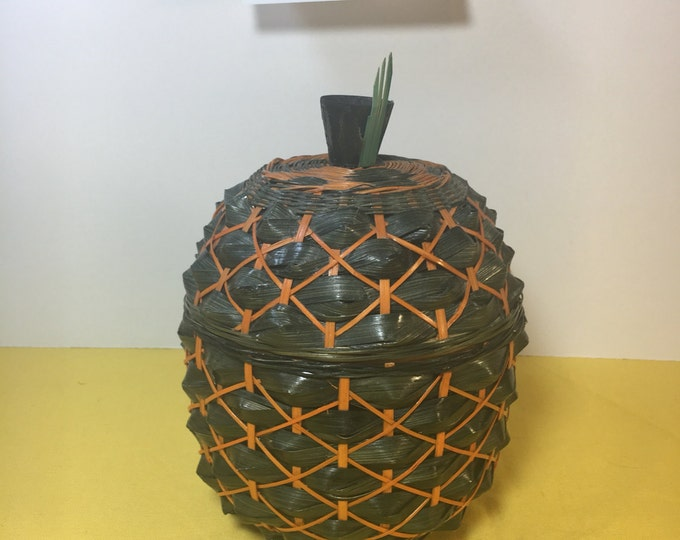 "Vintage Pineapple Jar, Woven Wood Pineapple Canister, Dual Color Green Orange Pineapple, 6.5"" Pineapple Jar and Lid, Pineapple Catchall Can"