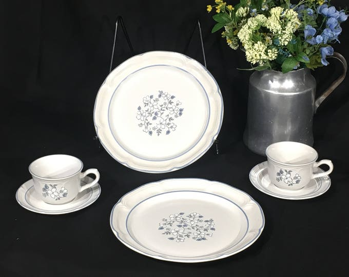 Vintage Covington Stoneware (6 pcs), Blue & White Dinnerware Settings, Decorative Ceramic Dishes, Avondale Replacement Plates and Cups