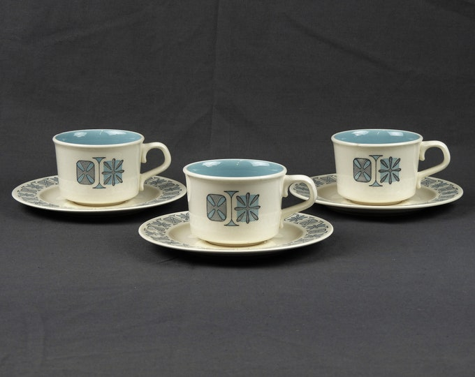 Vintage Atomic Cups & Saucers, Taylorstone Dinnerware, Eggshell Porcelain, Sea Glass Blue, Corinthian Dishes, Kitchen Decor, Coffee Mugs