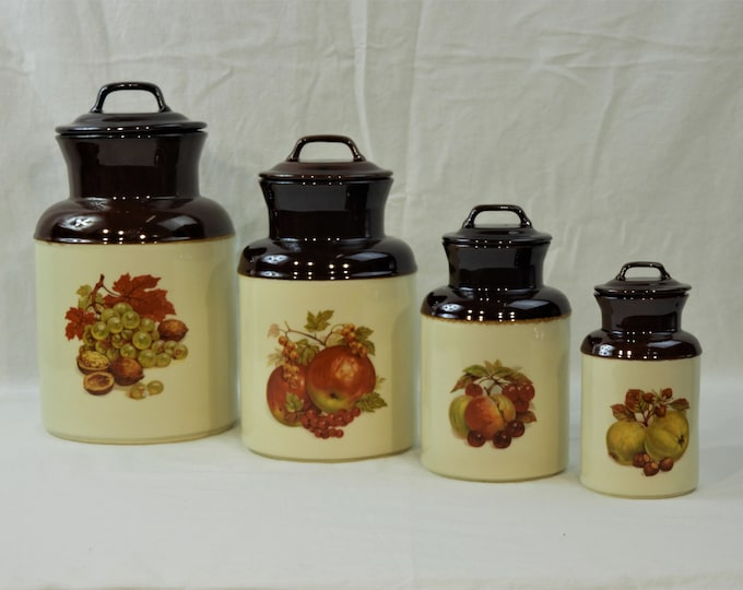 Vintage McCoy Canisters (4), Brown Kitchen Storage, Apothecary Containers, Decorative Ceramic Jugs, Apple & Nut Decor, Milk Jug Decoration