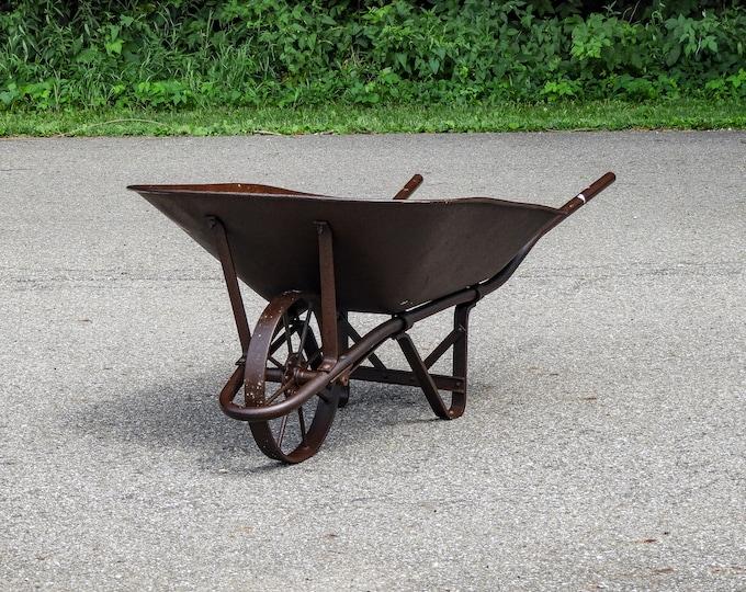 Vintage Rustic Wheelbarrow, Industrial Metal, Tube Frame, Distressed Steel, 8 Spoke Wheel, Rusty Brown, Patio Garden, Home Decor, Farm Prop