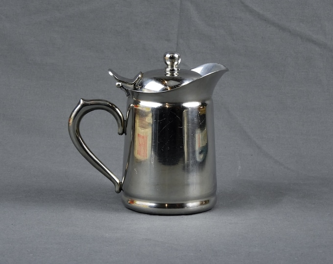 Vintage Brandware Teapot, Stainless Steel, Silver Chrome Color, 18 8 Metal, Collectible Drinkware, Kitchen Decor, Tea Pot, Anchor Pitcher
