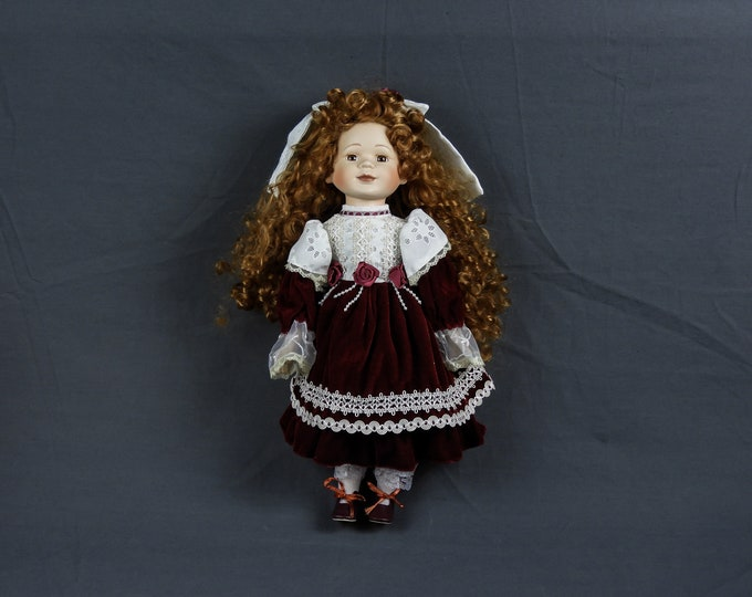 "Vintage Porcelain Doll, Childrens Toy, Red & White, Stuffed Body, 16"" Tall, Curly Hair, Velvet Dress, Home Decor, Lace Trim, Collectible"