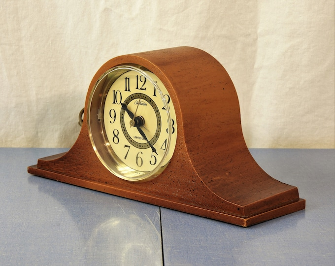 Vintage Sunbeam Clock, Electric Alarm, Lighted Dial, Home Decor, Brown w Gold Accent, Arched Top, Wood Grain Plastic