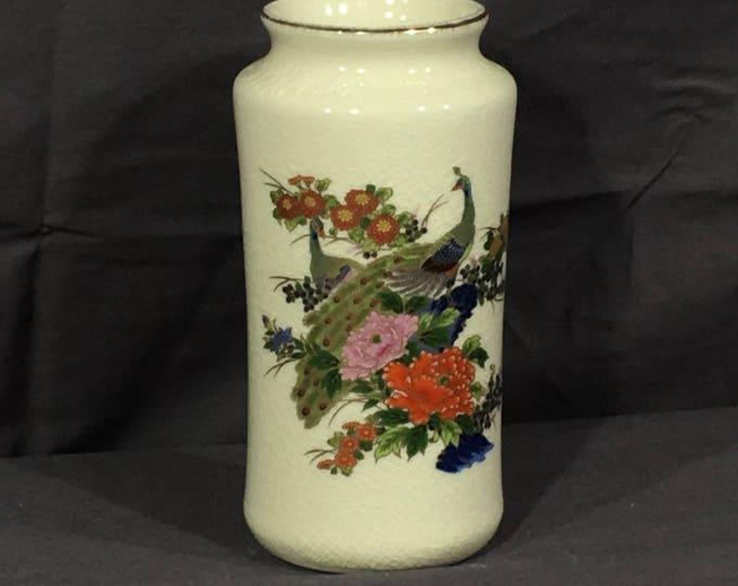Vintage Peacock Vase, Decorative Oriental Blue Red Vase, Collectible Porcelain Decoration, Small Asian Theme Vase, Bird Decor Art Vase