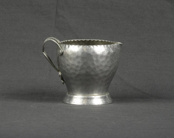 Vintage Aluminum Creamer, Hammered Metal Art, Home Decor, Gray Silver Color, Colonial Decoration, Dimpled Body, Metalcraft Collectible