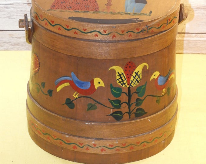 Vintage Wood Firkin, Wooden Box, Folk Art, Home Decor, Sugar Bucket, Brown Barrel, Wedding Anniversary, Treasure Box, Storage Chest