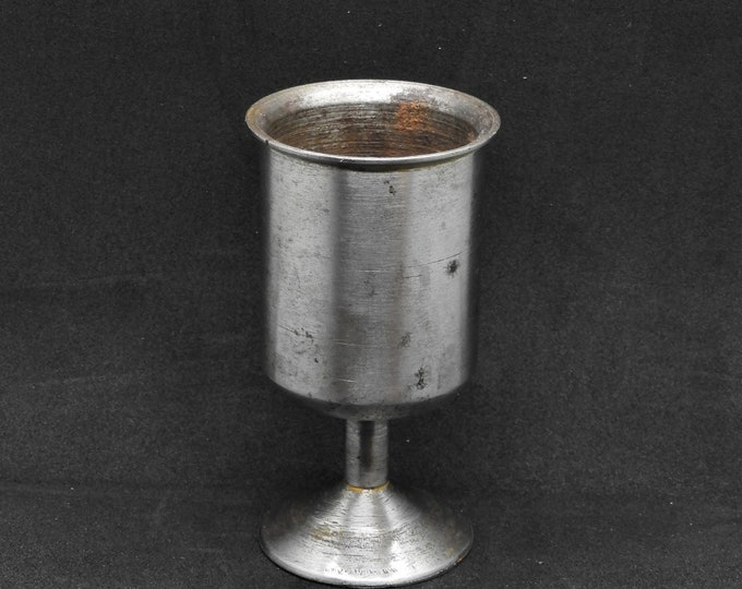 Vintage Steel Goblet, Silver Chalice, Decorative Cup, Round Metal Decor, Groomsman Gift, Man Cave Decoration, Office Paperweight