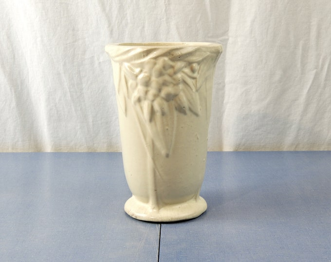 Vintage Art Nouveau Vase, Nelson McCoy, 1930s Pottery, White Matte, Tropical Relief, Fruit & Leaves, Table Centerpiece, Entryway Decor