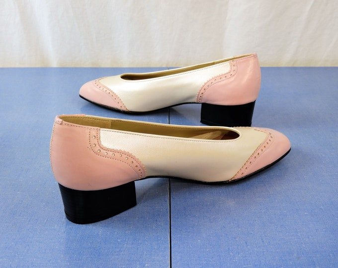 Vintage Leather Pumps, Pink & Pearl Shoes, California Magdesians, Womens Sz 8 N, Retro Wingtips, Made in USA, Block Heel, Ladies Fashion