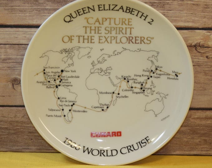 "Vintage Cruise Souvenir Plate,White Queen Elizabeth 2 ""Capture the Spirit of the Explorers"",1986 World Cruise, Cunard Cruise, Studio Linie"