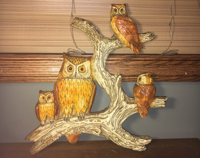 """Vintage Collectible Owls Owl On Limb Medium to Large Wall Decor fit 16"""" x 16"""" square"""