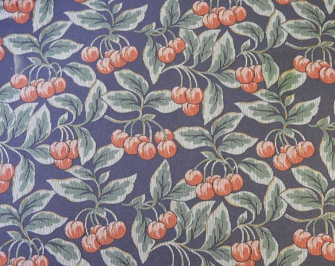Vintage Blue Wallpaper, Borden Style, Cherries & Leaves, Home Decor, DES WS3133 Vinyl Wall Covering, Wall Paper, 56 Sq Ft Coverage