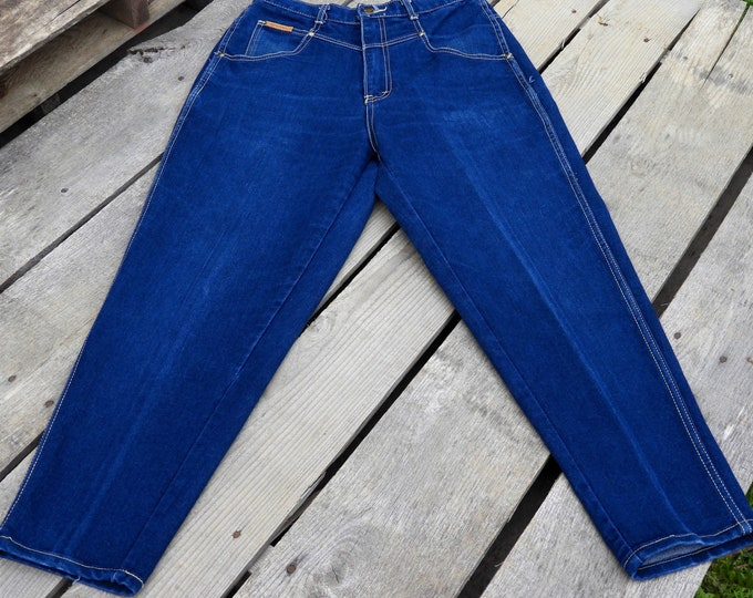 Vintage High Waist Mom Jeans, Gitano Blue Jeans Women's 14 Short, 26 W x 30 I Tapered Leg Pants, Fashion Style Jeans