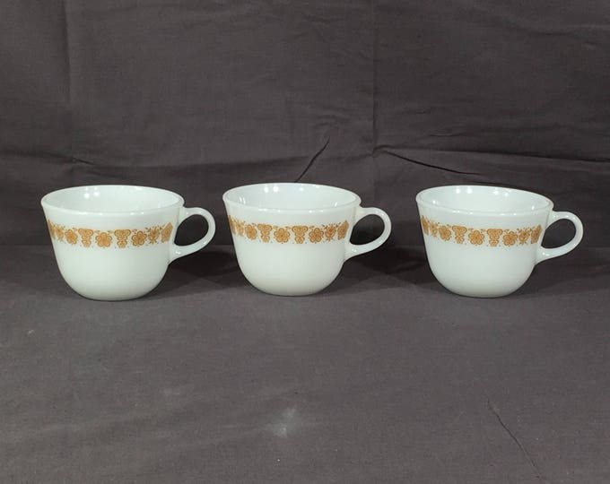 Vintage Pyrex Tea Cups (3), Butterfly Gold White Coffee Mugs, Decorative Tea Cups, Collectible White Milk Glass Tea Cups, Kitchen Glassware