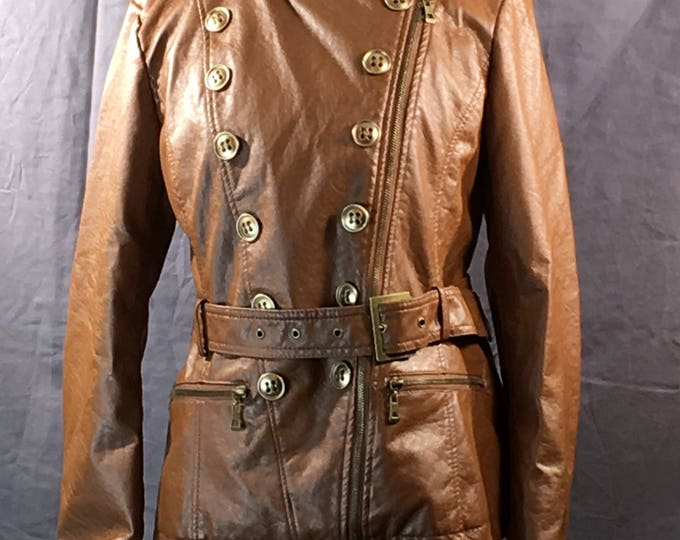 Vintage Womens Coat, NYC Dollhouse Outerwear Medium Jacket, Brown Faux Leather Button Up Coat, PVC Womens Clothing, Brown Coat