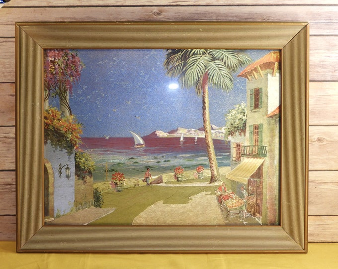 Vintage Paris France Foil Picture Print, French Riviera Foil Painting Art, Palm Trees Villa Man Red Striped Shirt Market, Italian Foil