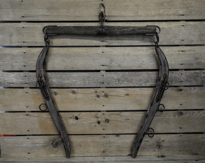 Antique Harness Decor, Wall Hanging, Horse Hames, Single Tree, J Hooks, Rustic & Distressed, Wood and Metal, Entryway Decoration, Equestrian