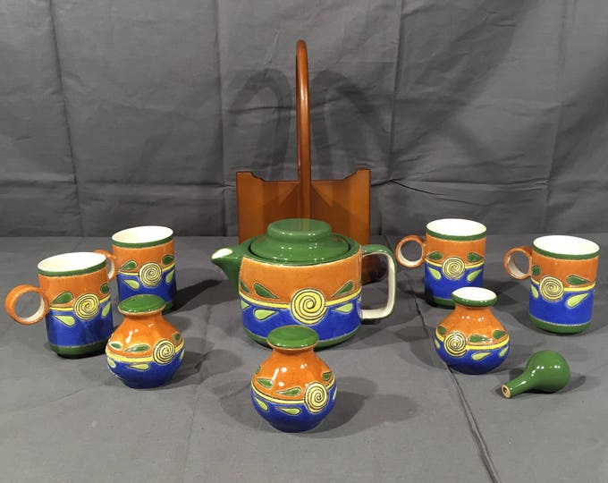 Vintage Artesa Tea Set, 11 Piece Ceramic Serving Group, Tea Cups Set Made in Ecuador, Decorative Green Gold Pot Cups, Wood Carrier Tea Set