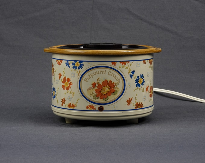Vintage Potpourri Crock, 1987 Rival, Model 3207, Incense Warmer, Spring Daisies, Ceramic Liner, Metal Exterior, Home Decor, Electric Pot