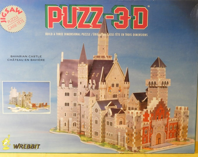 Vintage 3D Puzzle, Bavarian Castle 917 Pc Jigsaw Puzz-3D, Gray Chateau En Baviere, Retro Puzzle, Wrebbit Inc Collectible, Gallant 1991