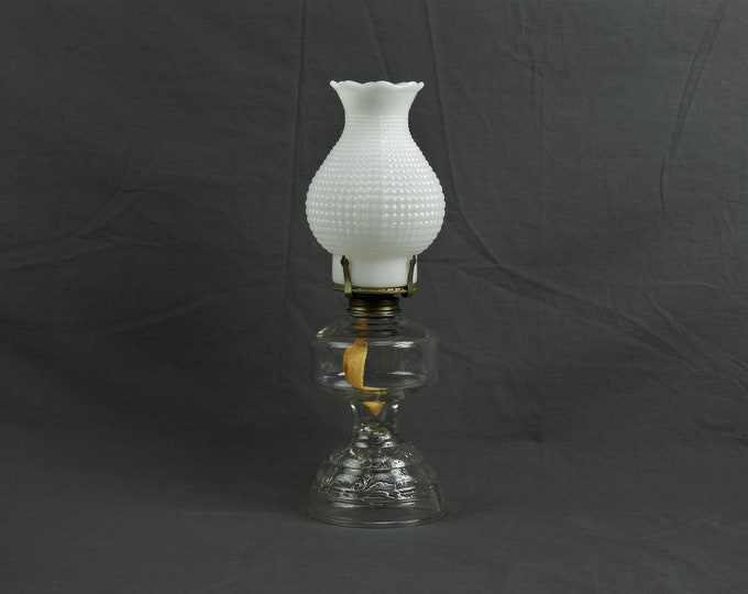 Vintage Oil Lamp, Paraffin Light, Kaadan Ltd, Clear Glass, Raised Skirted Base, Opal White Globe, Home Decor, Study Lighting, Incense Burner