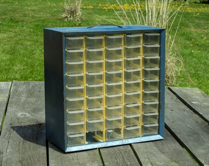 Vintage Storage Cabinet, Wall Hanging, Rustic & Distressed, Retro Blue, Akro Mils, Plastic Bins, Home Decor, Craft Supplies, Metal Shelf