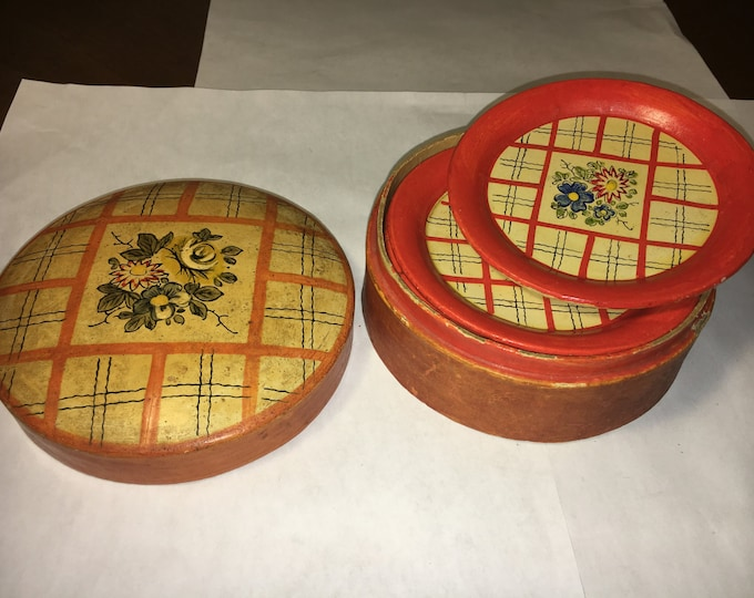 Vintage Rare Ceramic Oriental Miniature Orange Plates w/ Floral Pattern Set of 8 in Ceramic Container made in Japan