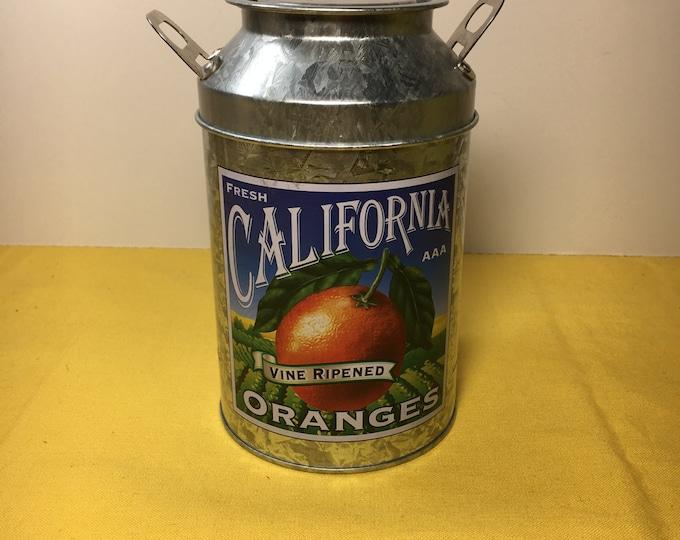 Vintage Miniature Milk Jug Tin, California Orange Tin, Collectible Milk Tin, Orange & Green Tin Jar, Aluminum Tin w/ Orange, Tin and Lid
