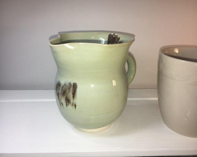 Vintage Small Ceramic Creamer Pitcher Mug, Soft Green Slight Brown Drip Glaze Pitcher, Fluted Wavy Rim, Footed Base Pitcher Mug